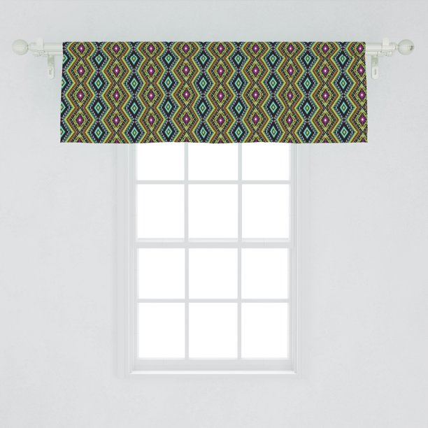 Ethnic Window Valance Geometric Folklore Ornament In Mexican Style Vibrant Colors Borders Curtain Valance For Kitchen Bedroom Decor With Rod Pocket By Ambesonne Walmart Com Walmart Com