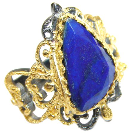 Gold Lapis Ring (Natural Lapis Lazuli  14K Gold over .925 Sterling Silver handcrafted ring size 8 by SilverRush Style)