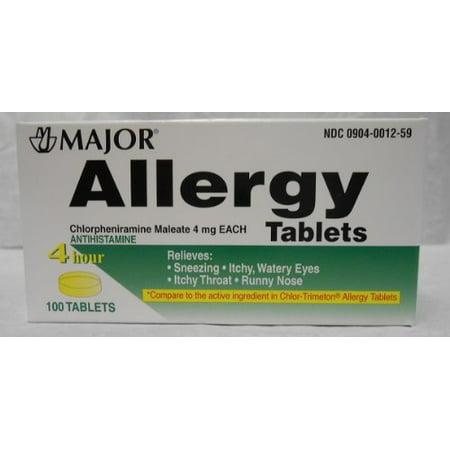 2 Pack Major Allergy Chlorpheniramine Maleate 4mg 100 Tablets Each
