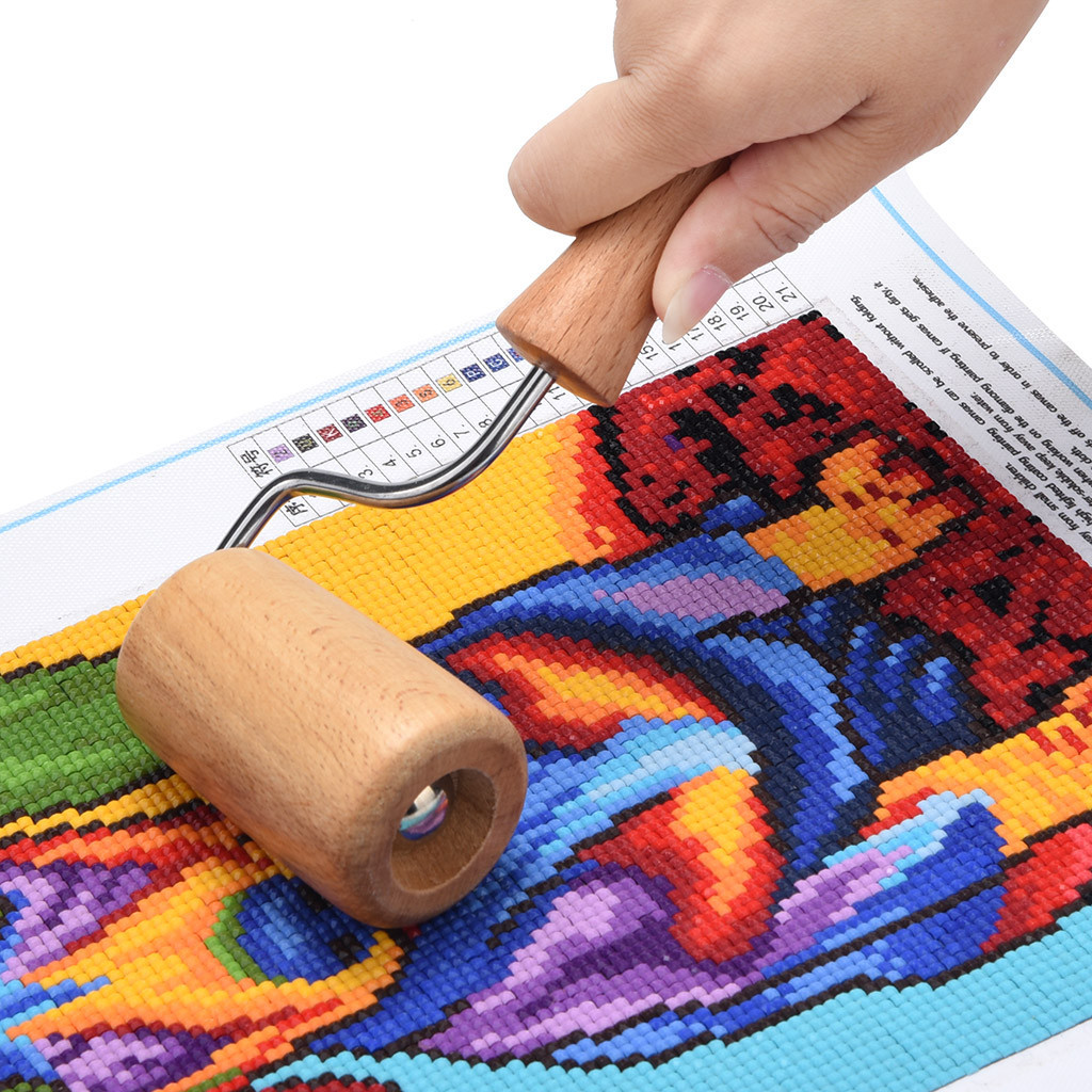 Wooden Roller for DIY 5D Diamond Painting Tool by Number Kits for Kid Adults