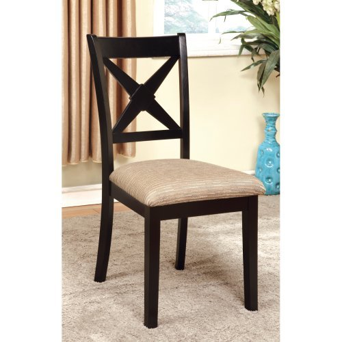 Furniture of America Argoyle 2-Piece Dining Side Chairs - Black / Beige