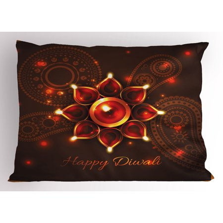 Bronze King Sham (Diwali Pillow Sham Paisley Design Backdrop with Beams and Diwali Wishes Candles Tribal Celebration, Decorative Standard King Size Printed Pillowcase, 36 X 20 Inches, Bronze Brown, by Ambesonne)
