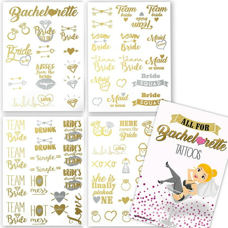 Bachelorette Party Tattoos - Gold & Silver Metallic Flash Temporary Tattoos, Mixed Set of 66 Bachelorette/Hen Party