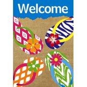 "Summer Flip Flops Welcome Burlap Garden Flag Beach Nautical 12.5"" x 18"""