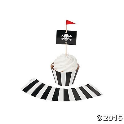 Pirate Party Cupcake Wrappers with Picks - Makes 50 Cupcakes, 100 pcs. per unit - 50 cupcake collars and 50 picks By Fun - Party City Pirates
