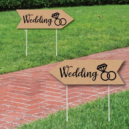 (Rustic Wedding Signs - Wedding Sign Arrow - Double Sided Directional Yard Signs - Set of 2 Wedding Signs)