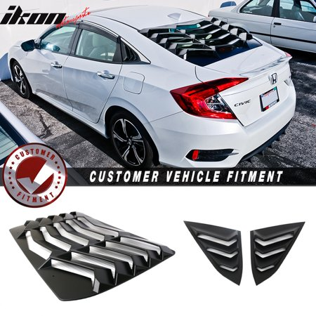 Fits 16-18 Civic Sedan Rear Window Louver + Side Quarter Panel Window Louver ABS