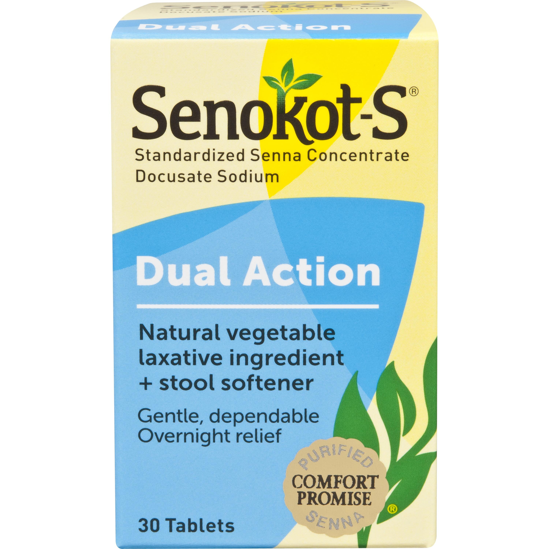 Senokot-S Natural Vegetable Laxative Plus Stool Softener, 30 tablets