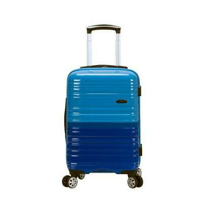 """Melbourne 20"""" Expandable Polycarbonate Carry On, Blue/Skyblue"""