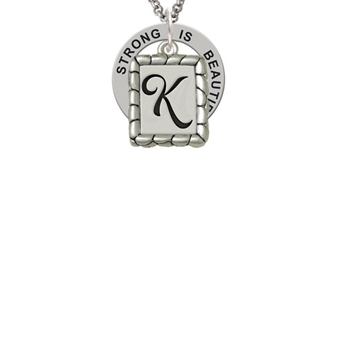 Pebble Border Initial - K Strong Is Beautiful Affirmation Ring Necklace
