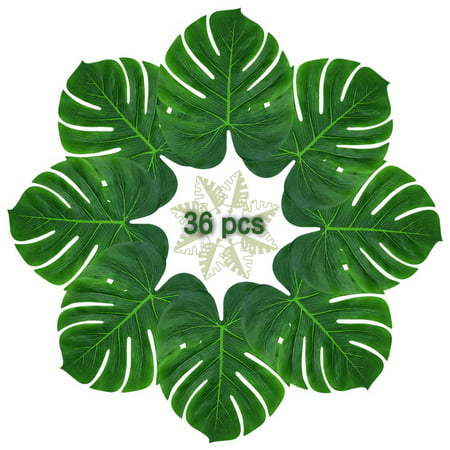 36pcs Large Artificial Tropical Palm Leaves, DIY Waterproof Artificial Leaf Table Runners for Hawaiian Luau Party Decoration, Jungle Party Supply, Table Decoration Accessories - Palm Tree Decorations For Party
