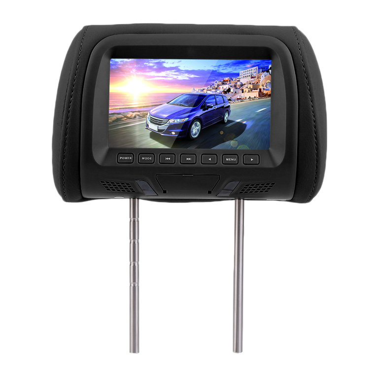 2PCS 7 Inch Car Pillow Monitor Car Headrest TV Monitors With Remote Control blacke
