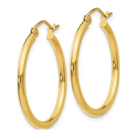 10k or jaune poli 2mm Hoop (2x22mm) Boucles d'oreilles - image 1 de 4