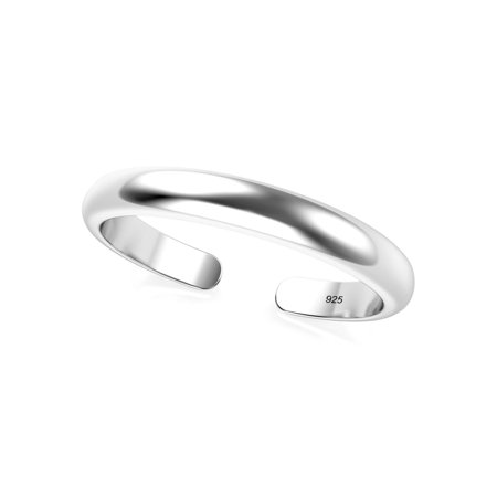 Sterling Silver 2MM Plain Dome Adjustable Toe Band Ring