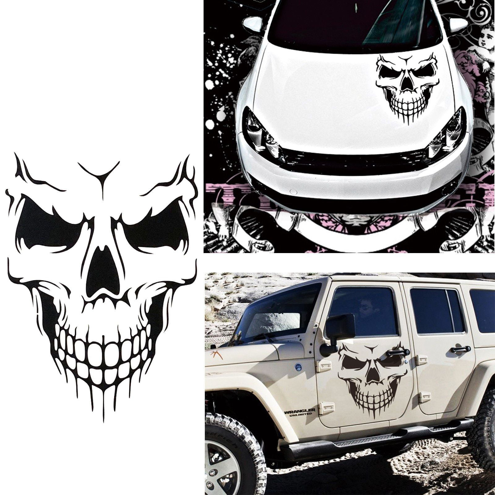 Car exterior decoration xotic tech auto front hood vinyl graphic sticker truck trailer boat door window decal 1pcs black skull shape walmart com