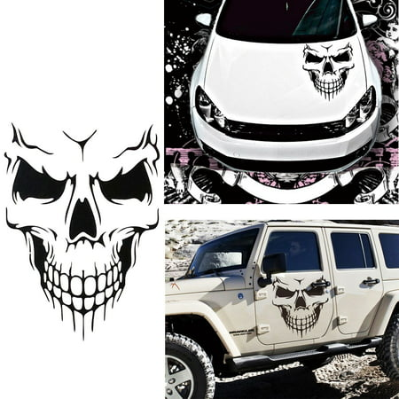 Skull Vinyl Graphic Decal (Car Exterior Decoration - Xotic Tech Auto Front Hood Vinyl Graphic Sticker - Truck Trailer Boat Door Window Decal - 1pcs Black Skull Shape )