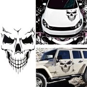 Car Exterior Decoration - Xotic Tech Auto Front Hood Vinyl Graphic Sticker - Truck Trailer Boat Door Window Decal - 1pcs Black Skull Shape