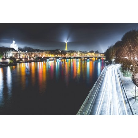 Peel-n-Stick Poster of France Cityscape Road River Water Paris Poster 24x16 Adhesive Sticker Poster Print