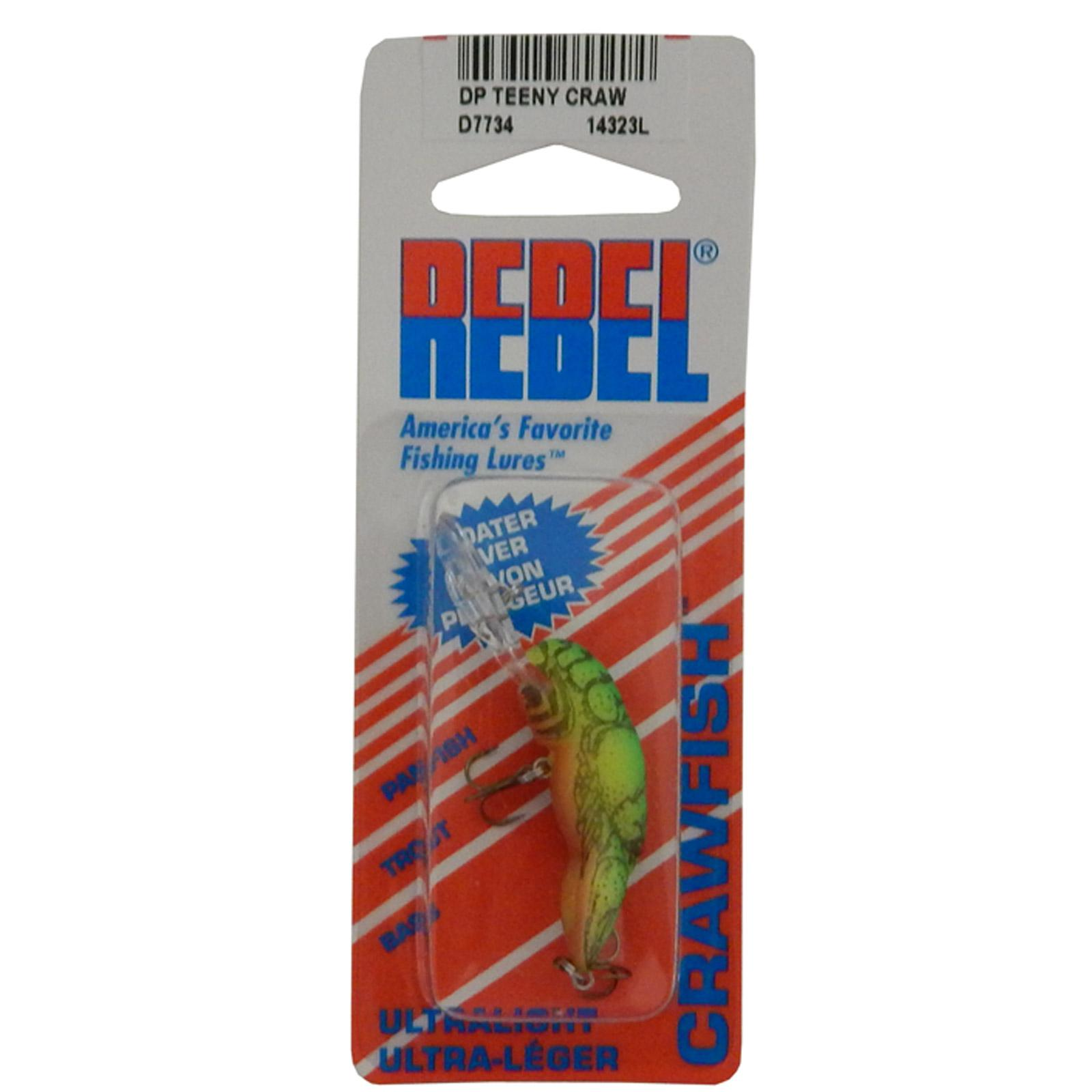 "Rebel Deep Teeny Wee 1-1/2"" Crankbait 1/9 Ounce Chartreuse Green Back, D7734"