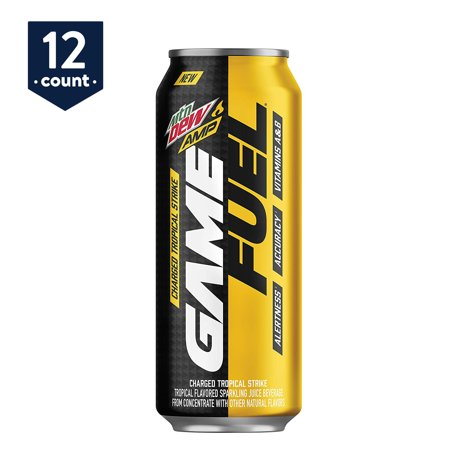 MTN DEW AMP GAME FUEL, Charged Tropical Strike, 16 oz Cans, 12 Count