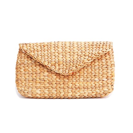 Mini Vintage Handmade Knit Bamboo Rattan Straw Clutch Bag / -