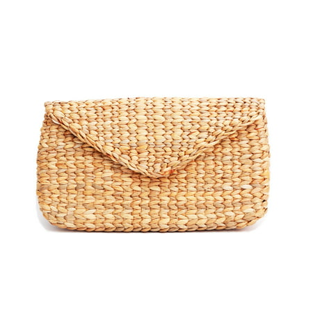 Mini Vintage Handmade Knit Bamboo Rattan Straw Clutch Bag / (Accented Clutch Handbag)