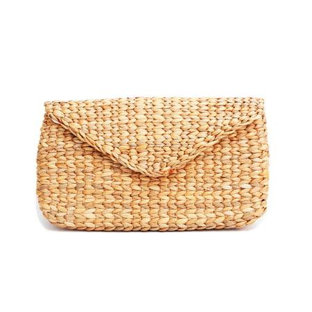 Vintage Mini Bag (Mini Vintage Handmade Knit Bamboo Rattan Straw Clutch Bag / Handbag)