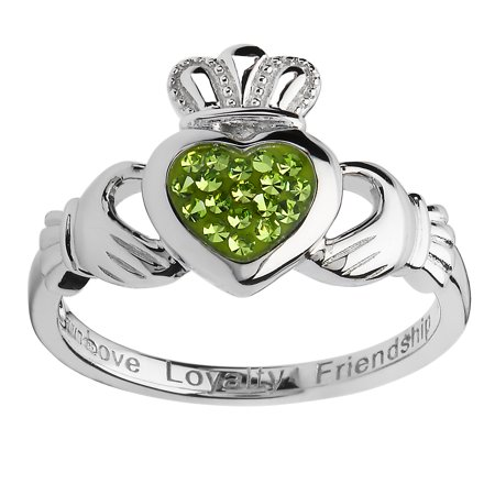 ShanOre Women's Sterling Silver Heart Peridot Claddagh Ring with Crystals By Swarovski®