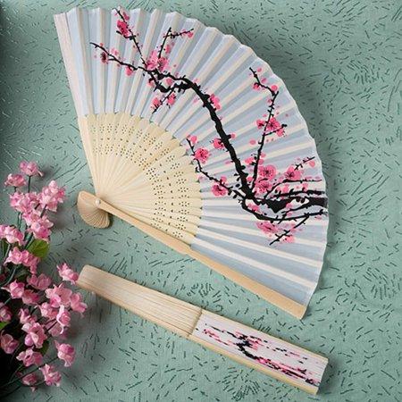 Delicate cherry blossom design silk folding fan favors (Set of 6), Size: 8 1/4