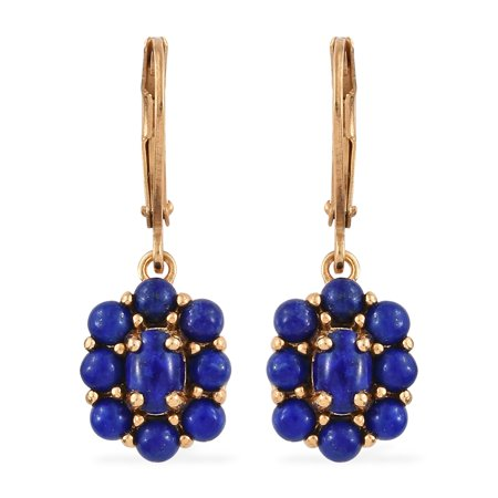 Women's Girls 18K Yellow Gold Ion Plated Oval Lapis Lazuli Earrings Cttw 3.6