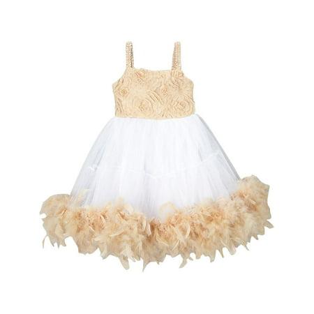 Girls Ivory Tan Rosette Top Feathery Flower Girl Dress 12M-7 - Feathery Dresses