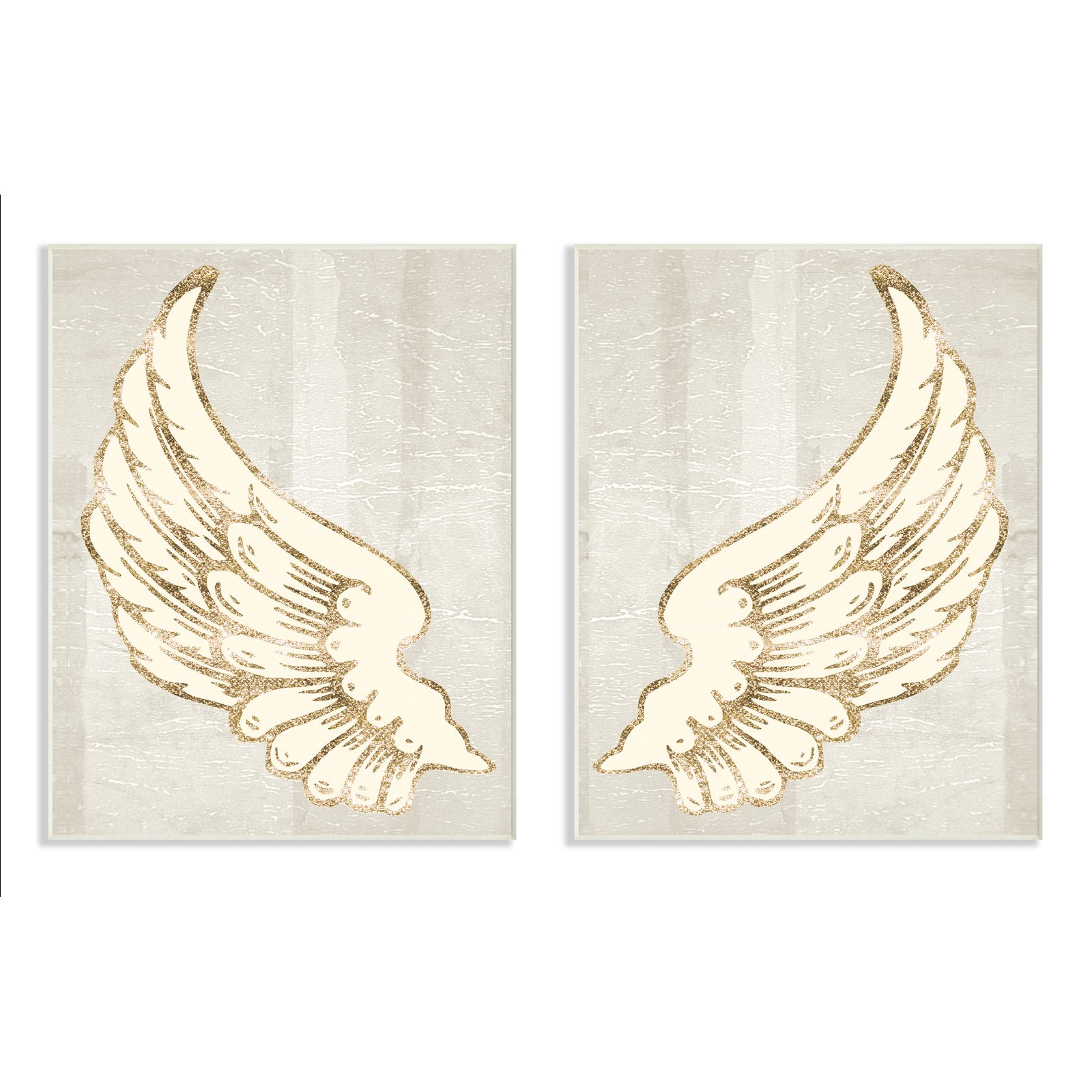 The Stupell Home Decor Collection Modern Baroque Angel Wings Light Grey Wall Plaque Art - Set of 2