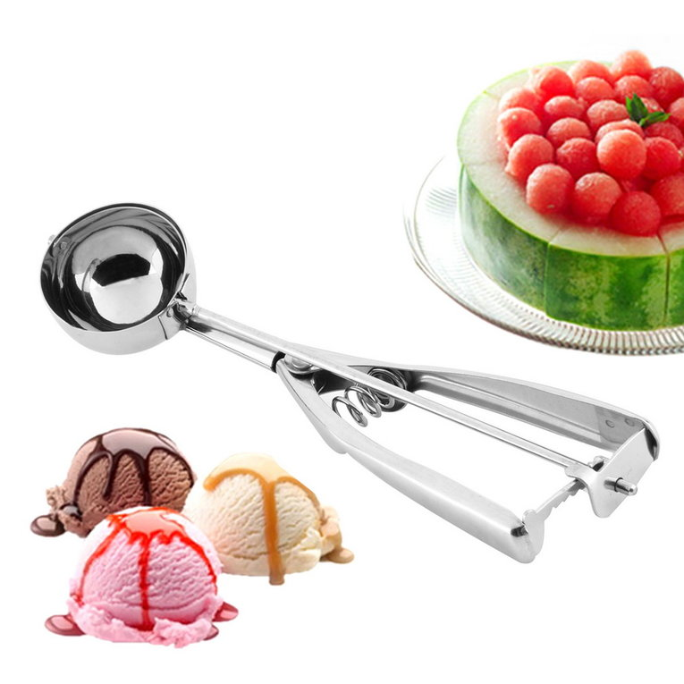 Click here to buy Ice Cream Tools Ice Cream Spoon Stainless Steel Spring Handle Masher Cookie Scoop.