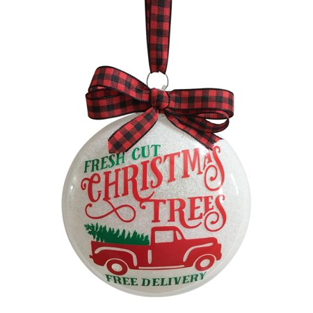 Red Pickup Truck Green Fresh Cut Christmas Trees Free Delivery Ornament Handmade - Hand Print Ornament