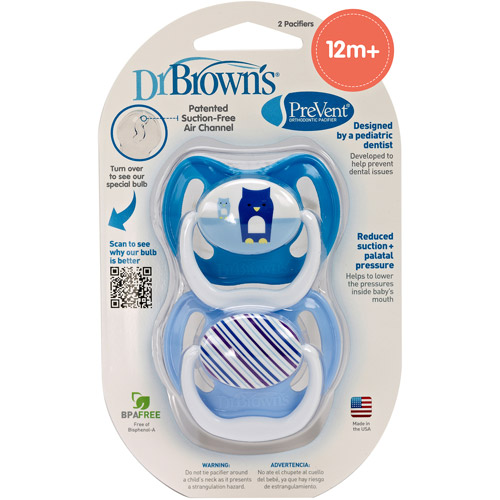 Dr. Brown's PreVent Orthodontic Pacifier, Stage 3, 12+ Months, BPA-Free