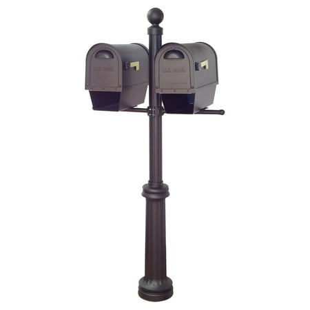 Special Lite Products Classic Curbside Mailboxes with Newspaper Tube and Fresno Double Mount Mailbox Post