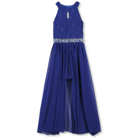 Lots of Love by 7-16 Jewel Waist Walk-Thru Long Occasion Dress (Big Girls) (Girl Dresses On Sale)