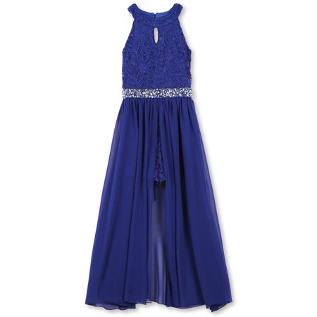 Girls Dress Sale (Lots of Love by 7-16 Jewel Waist Walk-Thru Long Occasion Dress (Big)