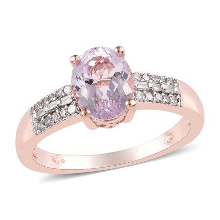 Diamond Kunzite Ring - AA Premium Kunzite Diamond Ring 925 Silver Vermeil Rose Gold