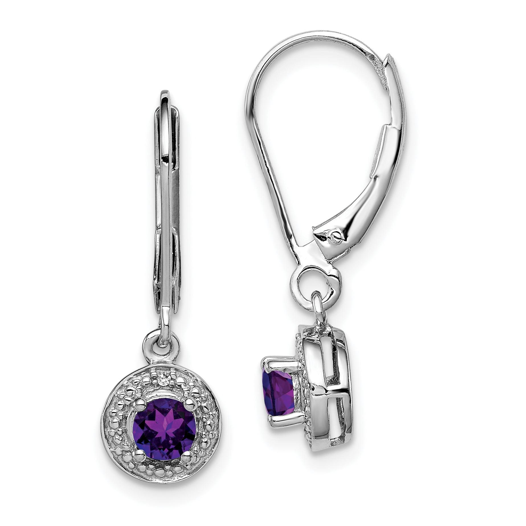Halo Nickel Free Leverback 925 Silver Purple Amethyst Princess Dangle Earrings