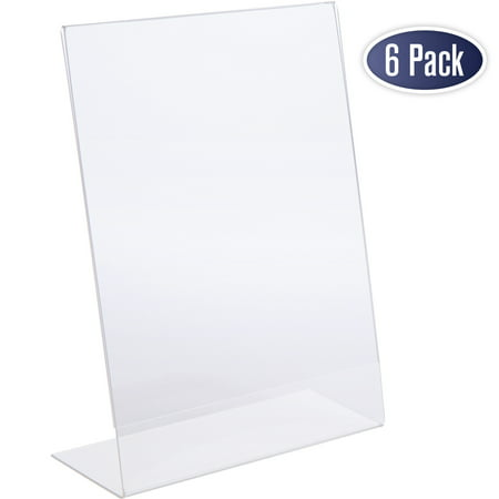 Slant Back Acrylic Sign Holder, 8.5 x 11 Inches Economy Portrait Ad Frames, Perfect for Home, Office, Store, Restaraunt (6 Pack)