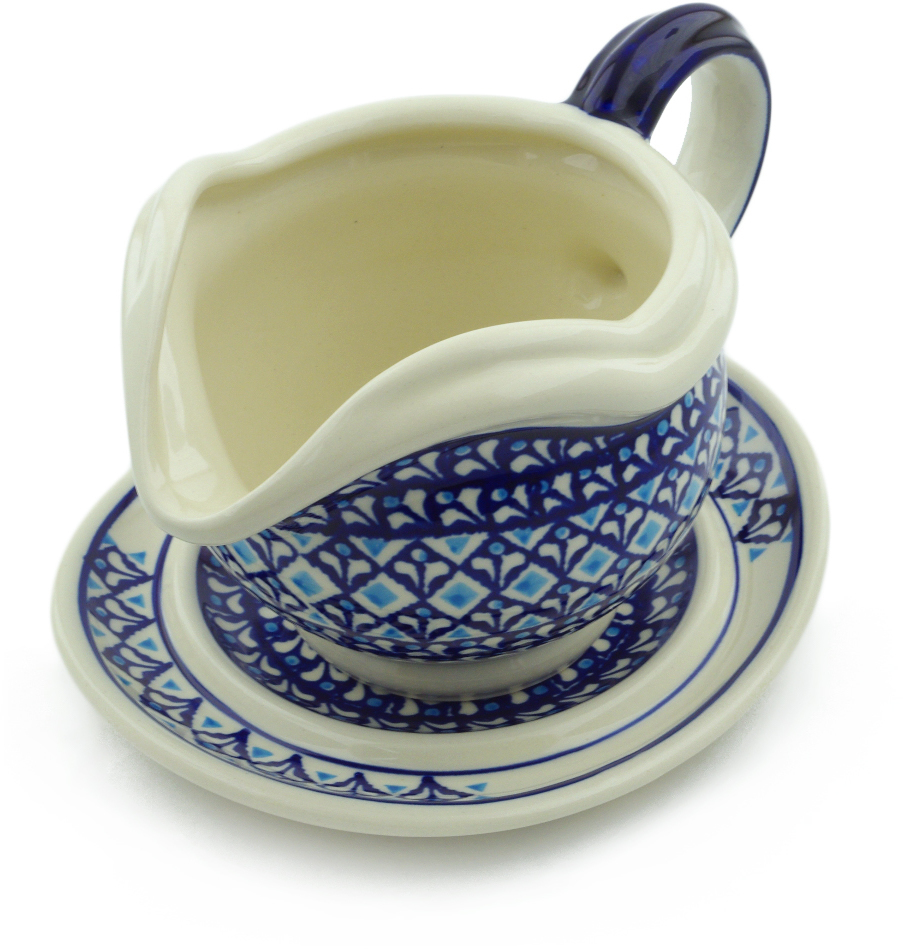 Polish Pottery 21 oz Gravy Boat with Saucer (Blue Diamond Theme) Hand Painted in Boleslawiec, Poland + Certificate of Authenticity
