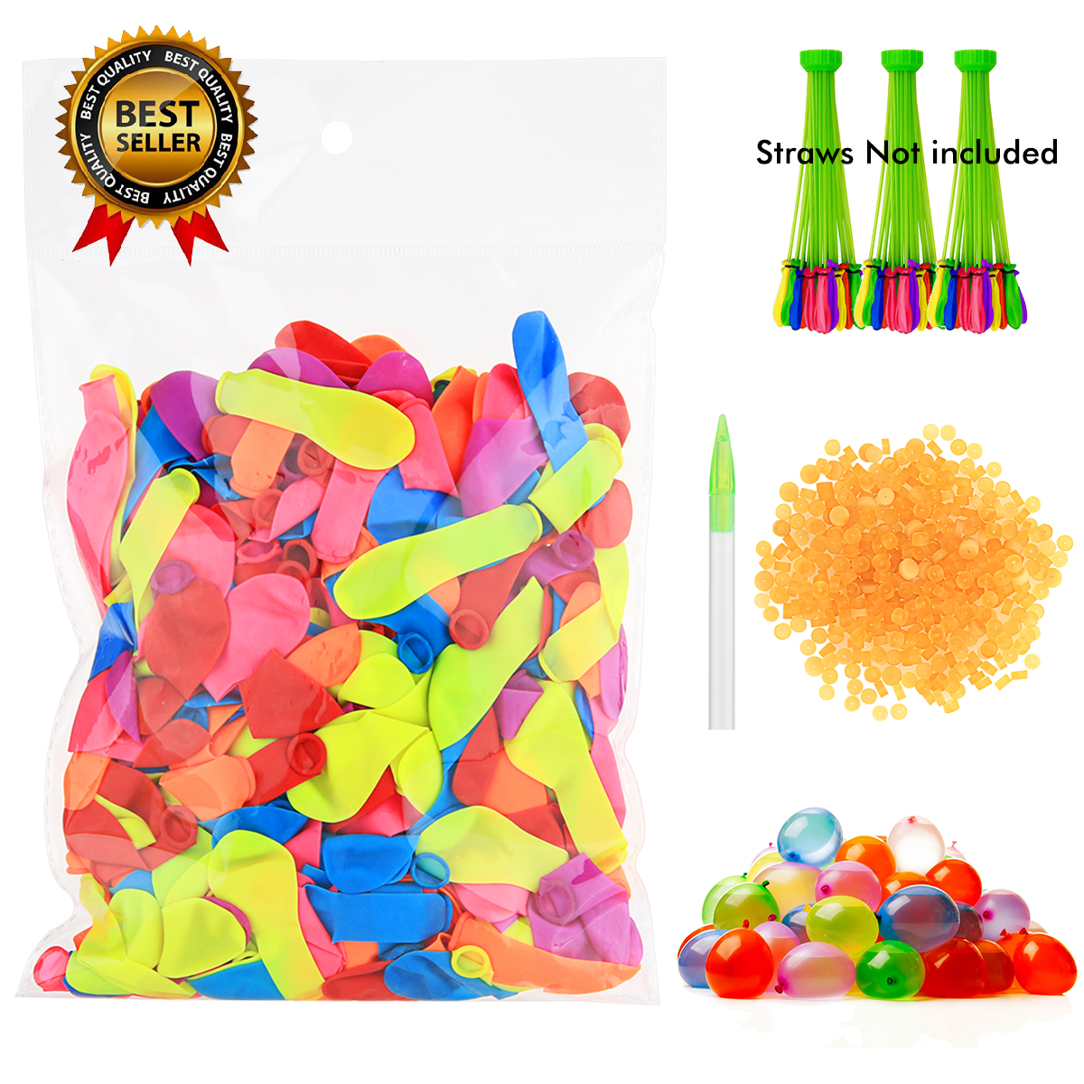 Water Balloons Refill Kit - 1000 Water Balloons + Rubber Bands ,Fastest Way to Refill with Used Straws, Straws not Included!