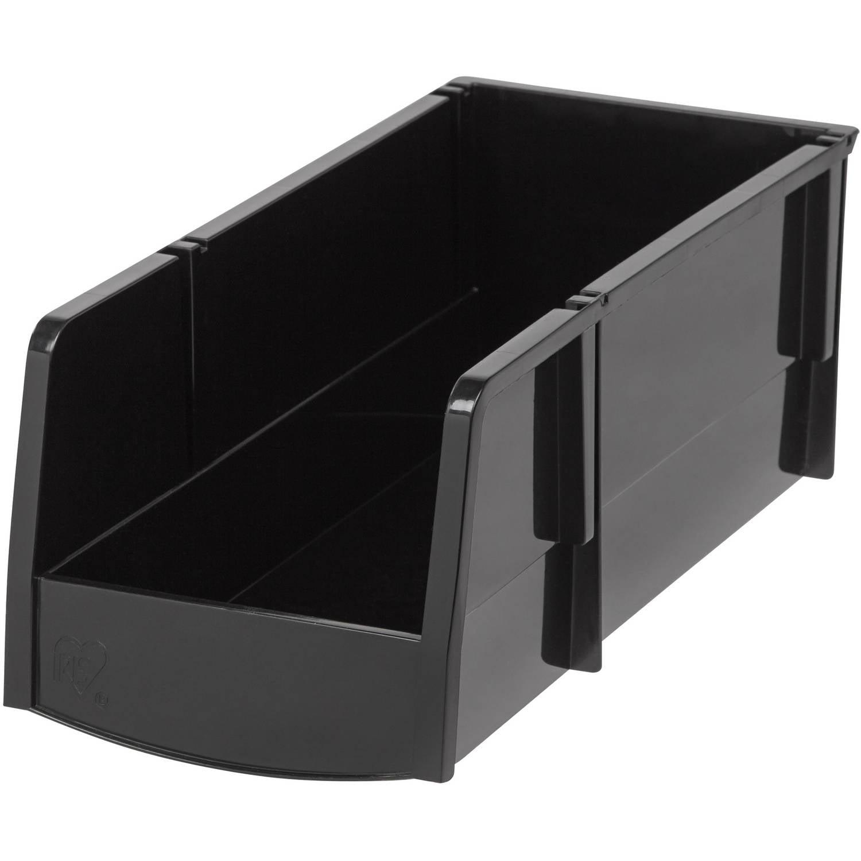 IRIS Large Stacking Storage Bin, Black Set of 8