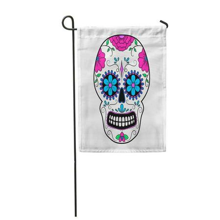LADDKE Day Colorful Skull with Floral Mexican Sugar Dead Mask Calavera Halloween Cultur Garden Flag Decorative Flag House Banner 12x18 - Makeup Halloween Calaveras