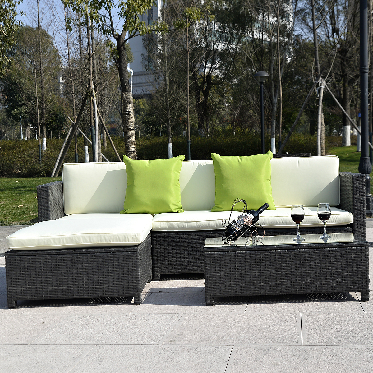 costway outdoor patio 5pc furniture sectional pe wicker rattan sofa set deck couch black black - Outdoor Sectionals
