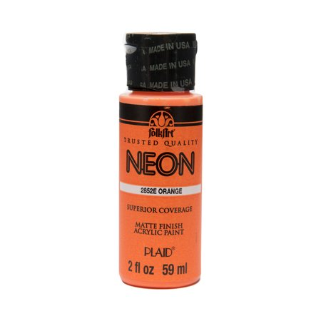 FolkArt Matte Finish Neon Orange Acrylic Paint, 2 Fl. Oz. - Neon Splatter Paint