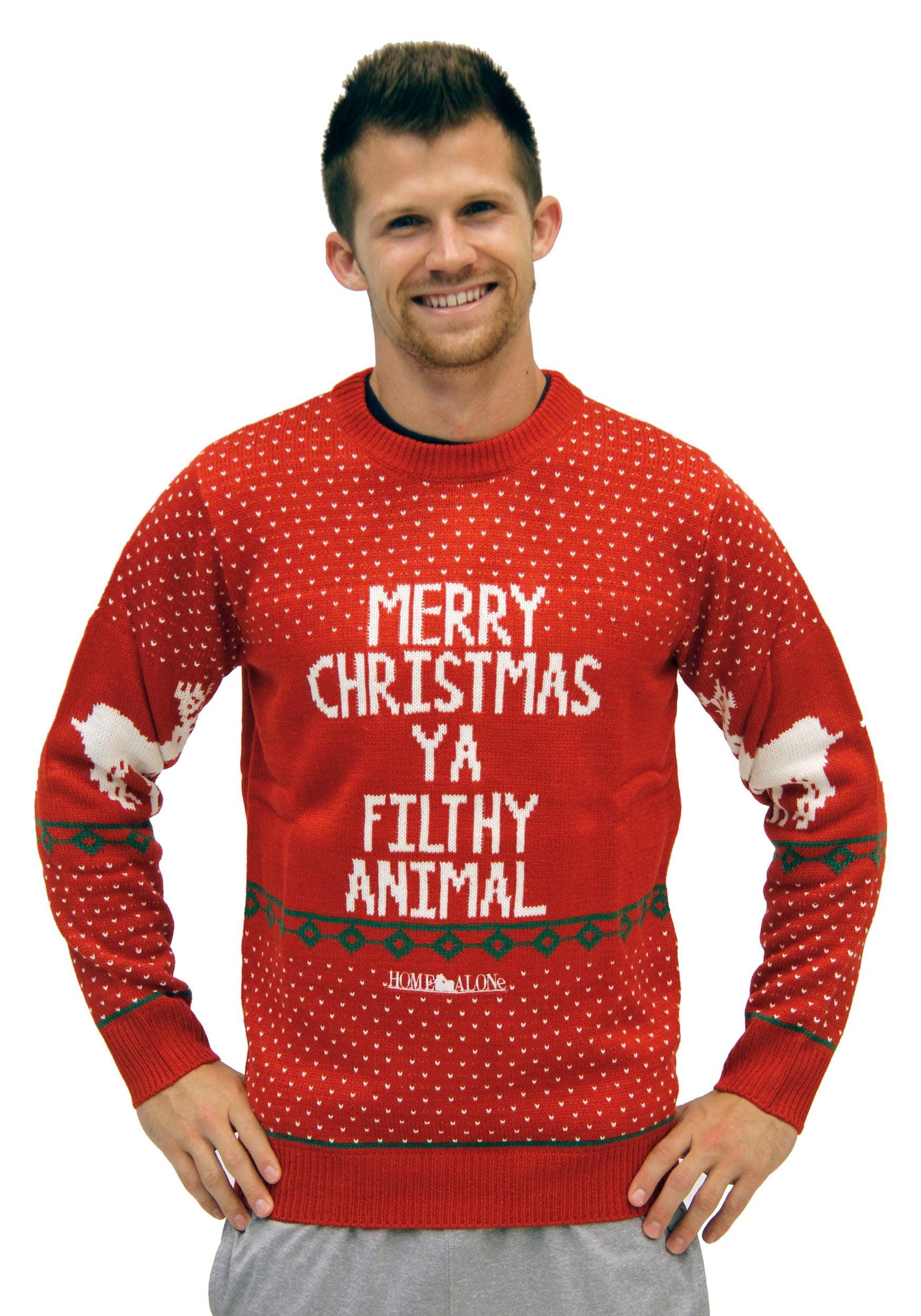 Adults /& Kids Sizes Jumper-Home Alone Purple Merry Xmas Ya Flithy Animal
