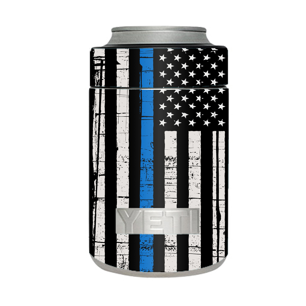 Skin Decal For Yeti Colster Can Tumbler Thin Blue Line Police Lives