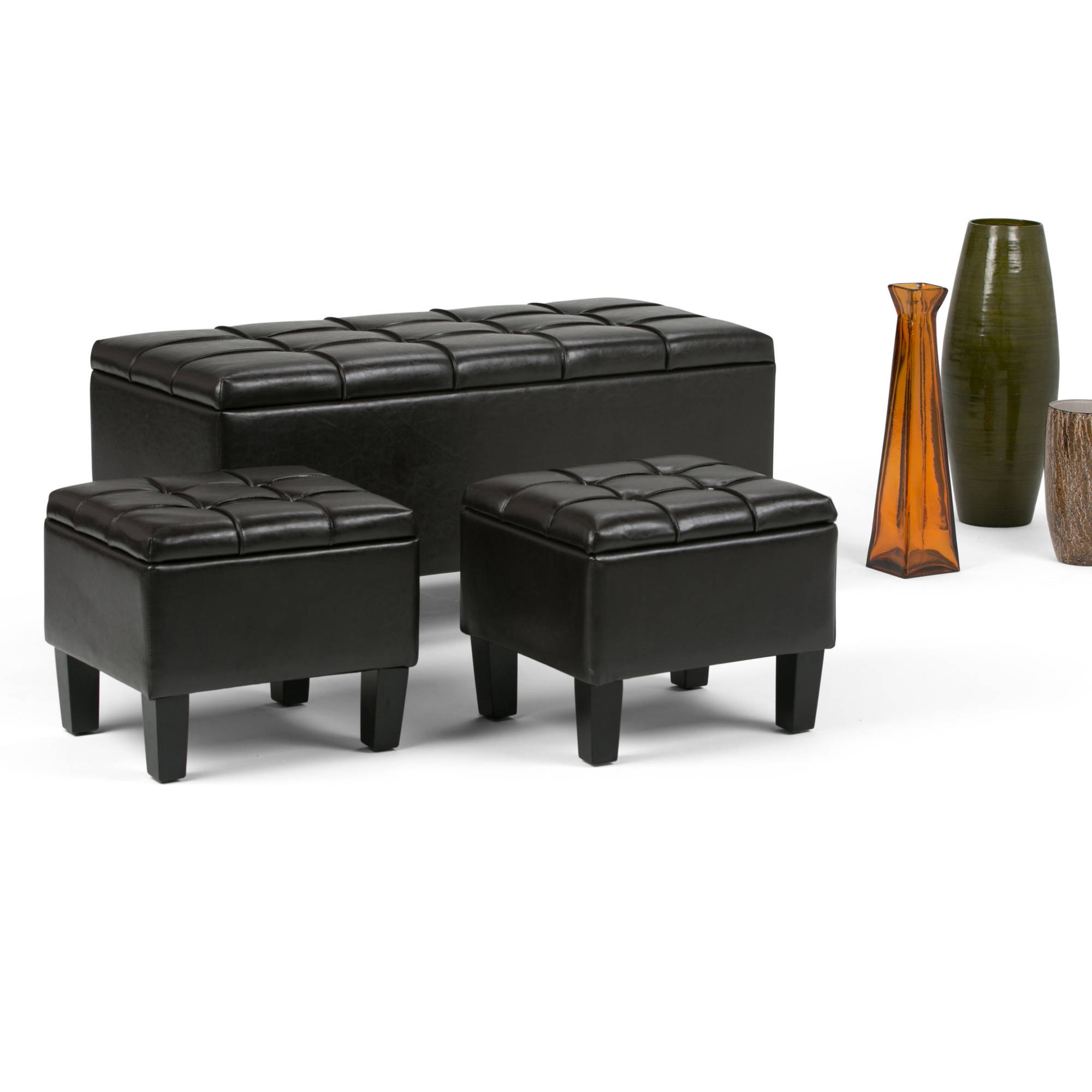 Brooklyn + Max Sea Mills 3-Piece Rectangular Storage Ottoman Bench